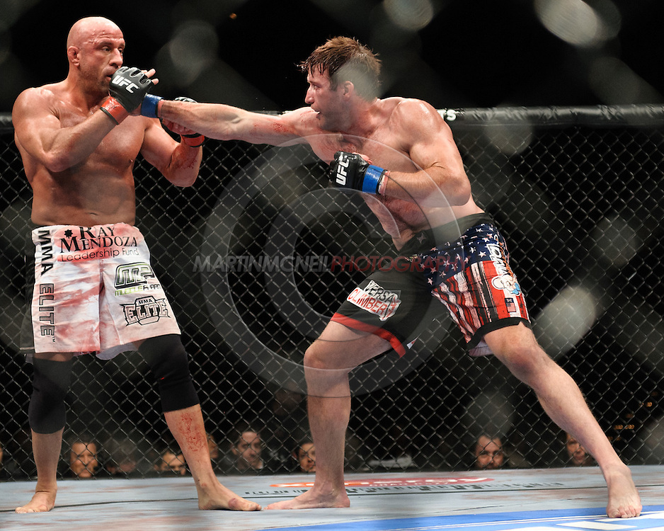 """LAS VEGAS, NEVADA. JULY 11, 2009: Mark Coleman and Stephan Bonnar during """"UFC 100: Making History"""" inside the Mandalay Bay Events Center in Las Vegas, Nevada."""