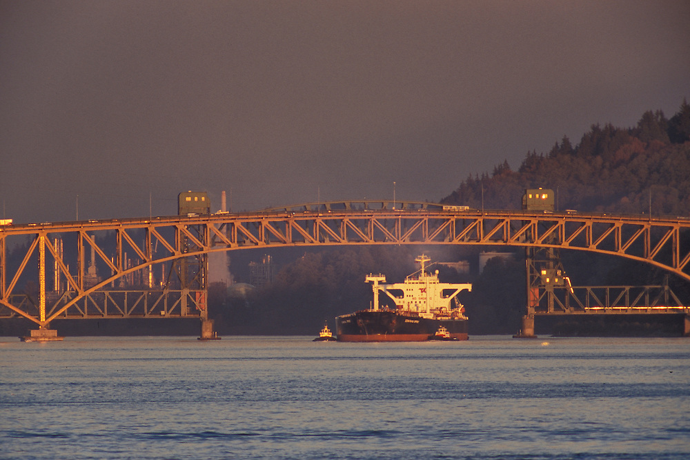 Canada, British Columbia,  Vancouver,Seymour river bridge, Highwa 1, ship, shipping, industrial,