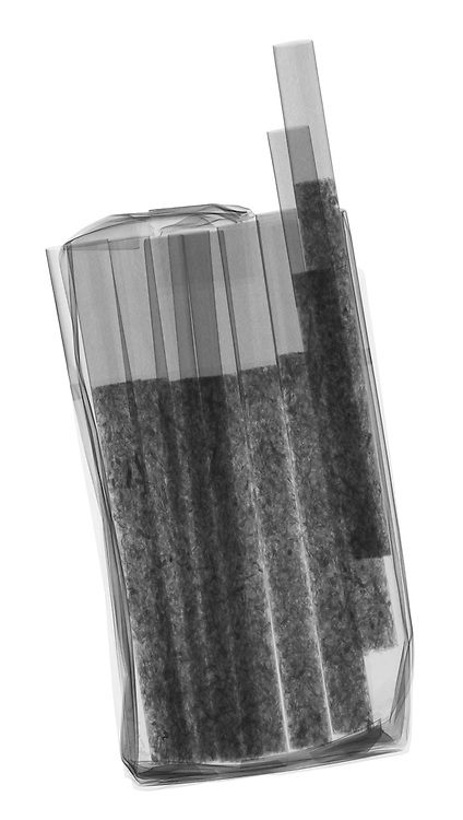 X-ray image of a pack of cigarettes (black on white) by Jim Wehtje, specialist in x-ray art and design images.