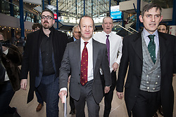 © Licensed to London News Pictures . 17/02/2018. Birmingham, UK. HENRY BOLTON arrives . The NEC of UKIP meet to decide leader Henry Bolton's fate as leader following a racism row over his girlfriend Jo Marney and controversy over his claimed qualifications whilst serving in the military . Photo credit: Joel Goodman/LNP