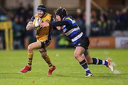 Ryan Edwards of Bristol Rugby is tackled by Jack Wilson of Bath Rugby - Rogan Thomson/JMP - 18/11/2016 - RUGBY UNION - Recreation Ground - Bath, England - Bath Rugby v Bristol Rugby - Aviva Premiership.
