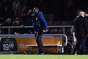 Northampton Town manager Jimmy Floyd Hasselbaink  gestures during the EFL Sky Bet League 1 match between Northampton Town and Shrewsbury Town at Sixfields Stadium, Northampton, England on 20 March 2018. Picture by Dennis Goodwin.
