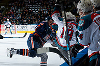 KELOWNA, CANADA - MARCH 24: Collin Shirley #15 of the Kamloops Blazers checks Dillon Dube #19 of the Kelowna Rockets on March 24, 2017 at Prospera Place in Kelowna, British Columbia, Canada.  (Photo by Marissa Baecker/Shoot the Breeze)  *** Local Caption ***