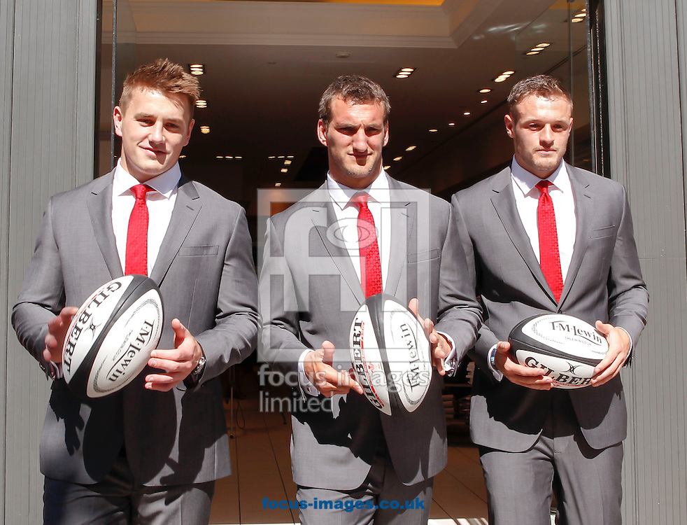 From left to right, Jonathan Davies, Sam Warburton and Corey Allen of Wales during a press conference at 21 The Hayes, Cardiff<br /> Picture by Mike  Griffiths/Focus Images Ltd +44 7766 223933<br /> 25/06/2014