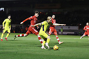 Ryan Broom shoots  during the EFL Sky Bet League 2 match between Crawley Town and Cheltenham Town at the Broadfield Stadium, Crawley, England on 5 January 2019.