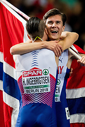 August 10, 2018 - Berlin, GERMANY - 180810 Jakob Ingebrigtsen of Norway celebrates with his brother Henrik Ingebrigtsen of Norway after winning the men's 1500 meter final during the European Athletics Championships on August 10, 2018 in Berlin..Photo: Vegard Wivestad GrÂ¿tt / BILDBYRN / kod VG / 170201 (Credit Image: © Vegard Wivestad Gr¯Tt/Bildbyran via ZUMA Press)