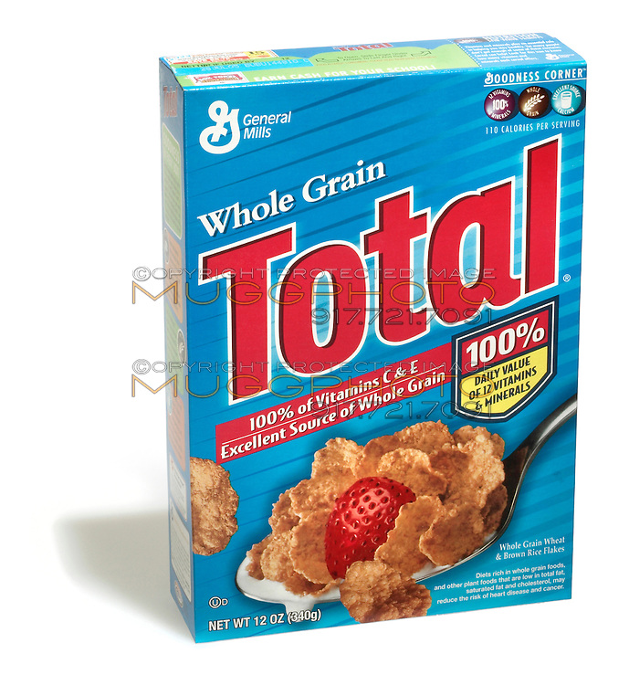 Box of Total cereal photographed on a white background.