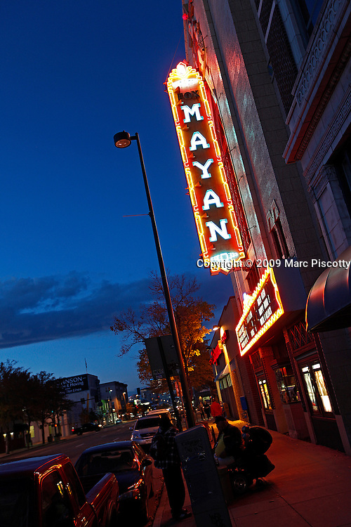 "SHOT 10/7/09 6:55:08 PM - The Mayan Landmark Theatre on Broadway in Denver, Co. The theatre was built in 1930 and features Denver's finest in independent film and foreign language cinema, the Mayan Theatre is located in the heart of Central Denver amongst a bevy of art galleries, restaurants and vintage clothing stores in the Baker District. The historic Mayan, built in 1930, narrowly missed the wrecking ball in the mid-1980s, when, at the eleventh hour, it was saved by the local group ""Friends of the Mayan."" In 1986, The Mayan was restored to its former glory. Renovated meticulously at a cost of nearly $2 million, it is one of the country's three remaining theatres designed in the Art Deco Mayan Revival style. It has been converted into a three-screen palace, with one large, magnificent auditorium and two cozy theatres upstairs, featuring stadium seating. There is also an upstairs cafe and seating area. (Photo by Marc Piscotty / © 2009)"