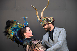 The Animal Ball..This years Animal Ball which brings the glamour and splendour of a masked soiree to the heart of London will benefit the charity Elephant Family with masks created by the likes of Christian Lacroix, Mario Testino and Swarovski. Pic Shows Natalie Ellner wearing her creation Lady Peacock and Chris Jones wearing 'The Horned Mask' by Natalie Ellner. The masks will be on show at Sotheby's until May 15th, London, UK, May 10, 2013. Photo by:  i-Images