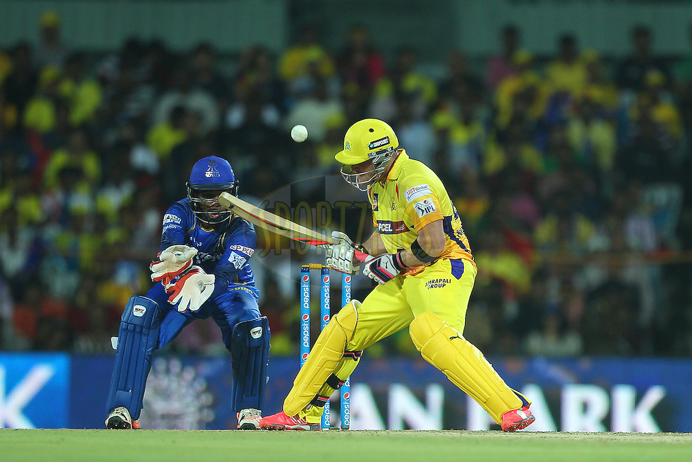 Brendon McCullum of the Chennai Superkings plays a scoop shot during match 47 of the Pepsi IPL 2015 (Indian Premier League) between The Chennai Superkings and The Rajasthan Royals held at the M. A. Chidambaram Stadium, Chennai Stadium in Chennai, India on the 10th May 2015.<br /> <br /> Photo by:  Ron Gaunt / SPORTZPICS / IPL