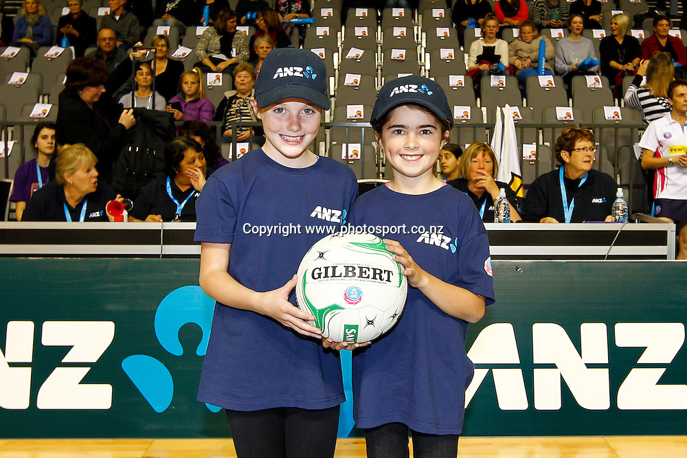ANZ Future Captains - Bianka Eggink (L) aged 10 and Mollyrose O'Donell (R) aged 9 ahead of the ANZ Championship netball match - Waikato BOP Magic v Queensland Firebirds at Claudelands Arena, Hamilton, New Zealand on Monday 2 June 2014.  Photo:  Bruce Lim / www.photosport.co.nz