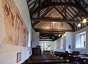 Frescoes at St Clement's Church, Ashampstead. The paintings are thought to date from C.1230-40.