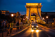 Eastern Europe, Hungary, Budapest, The Danube River The Chain Bridge at night