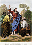 Christ making the deaf to hear. Kronheim chromolithograph from illustrated 'Bible' c1860