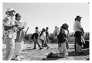 Religious tourists attending a mass in the Jordanian valley. Israel
