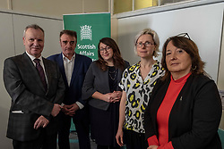Pictured: Pete Wisharet, Tommy Shephard, Danielle Rowley, Crew 2000 Chief Excutive, Ella Cranston and Christine Jardine<br /> Today at the Crew 2000 offices in Edinburgh, the chair of the Scottish Affairs Committee Pete Wishart MP launched an inquiry into drug misuse in Scotland.  He was joined by members of his committee, Tommy Shephard (SNP), Danielle Rowley MP (Labour) and Christine Jardine (Lib Dem)<br /> <br /> <br /> Ger Harley | EEm 4 March 2019