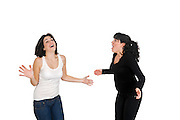 Excited girlfriends On white Background