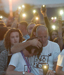 © Licensed to London News Pictures. 27/06/2015. Witney, Oxfordshire. MAUREEN BAKER (mum), PAUL BAKER (dad). 3000 attended the very first Lib Fest that took place in memory of Witney schoolgirl Liberty Baker who was killed on the way to school by 18 year old driver Robert Blackwell. PAUL BAKER, the father of Liberty was accused by Police of harassing the Blackwell family and was due in front of magistrates, but it was dropped at the last minute. Photo credit : MARK HEMSWORTH/LNP