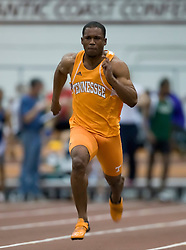 Blake Jones (Tennessee) races in the men's 55m dash.  Day 1 of the Virginia Tech Invitational Track and Field meet was held at the Rector Field House on the campus of Virginia Tech in Blacksburg, VA on January 11, 2008.