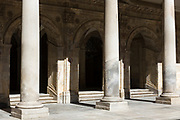 Columns at University of Salamanca, Faculty of Philology - Languages in Plaza de Anaya, Spain