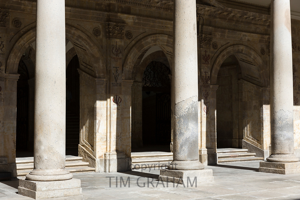 Columns at University of Salamanca, Faculty of Philology - Languages in Plaza de Anaya, Spain