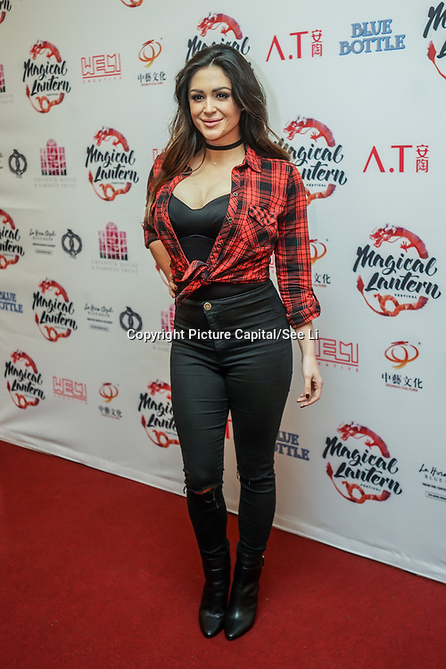 London,England,UK: 18th January 2016: Casey Batchelor attends the 'Magical Lantern Festival' VIP Night with an all-new show transforming historic Chiswick House Gardens into a fairytale world of light sculptures, Chinese arts, Virtual Reality, games & food with a funfair and 600 square metres ice rink at Chiswick House Gardens  from January 19th - February 26th. by See Li