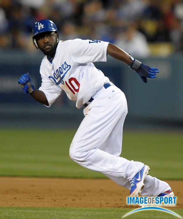 Apr 3, 2012; Los Angeles, CA, USA; Los Angeles Dodgers left fielder Tony Gwynn (10) during the game against the Los Angeles Angels at Dodger Stadium.