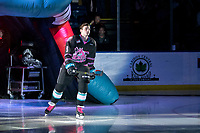 KELOWNA, BC - SEPTEMBER 21:  Mark Liwiski #9  of the Kelowna Rockets enters the ice for home opener against the Spokane Chiefs at Prospera Place on September 21, 2019 in Kelowna, Canada. (Photo by Marissa Baecker/Shoot the Breeze)