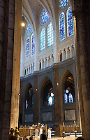 Our Lady of Chartres Cathedral, Chartres, France. Altar boys in the restored inner sanctum.