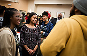 Students pose questions during intermission at the Black Excellence Youth Conference at the Best Western Plus Inntowner on Monday, Jan. 15, 2018.