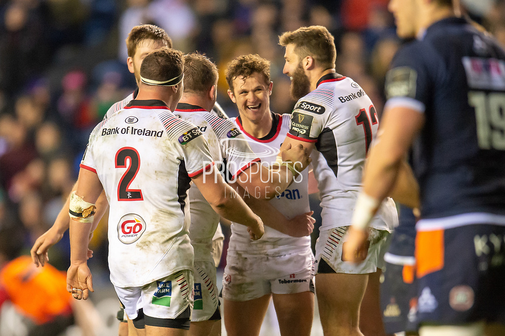 Billy Burns (#10) of Ulster Rugby is all smiles after scoring the final try for Ulster during the Guinness Pro 14 2018_19 match between Edinburgh Rugby and Ulster Rugby at the BT Murrayfield Stadium, Edinburgh, Scotland on 12 April 2019.
