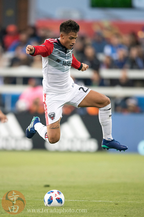 May 19, 2018; San Jose, CA, USA; D.C. United midfielder Yamil Asad (22) during the first half against the San Jose Earthquakes at Avaya Stadium.