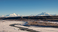Scenic view of Wrangell Mountains from Tok Cutoff Highway near Gakona in Interior Alaska. Winter. Afternoon.
