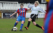 Rhian Humphreys making the clerance under pressure for Palace during the FA Women's Premier League match between Crystal Palace LFC and Bedford Ladies at Bromley Football Club, Bromley, Kent, United Kingdom on 15 March 2015. Photo by Michael Hulf.