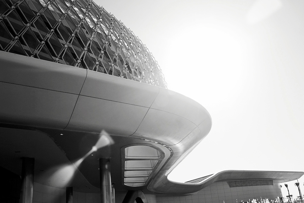 Yas Hotel in Abu Dhabi, Abu Dhabi in black and white
