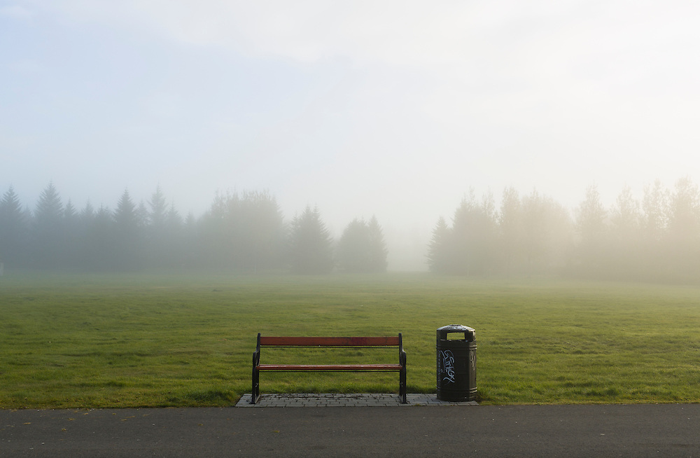 Bench in the for at Klambratun