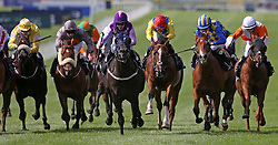 New Bidder (centre) ridden by Graham Gibbons wins The Irish Stallion Farms European Breeders Fund `Bold Lad` Sprint Handicap during day two of the Longines Irish Champions Weekend at Leopardstown Races.