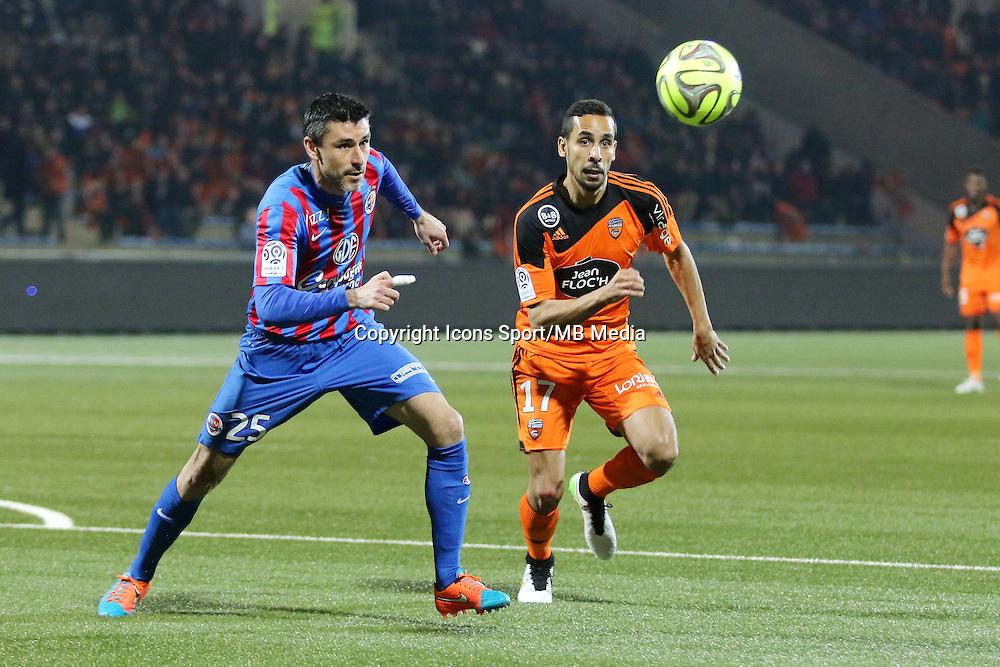 Julien FERET/ Walid MESLOUB - 14.03.2015 - Lorient / Caen - 29eme journee de Ligue 1<br /> Photo : Vincent Michel / Icon Sport