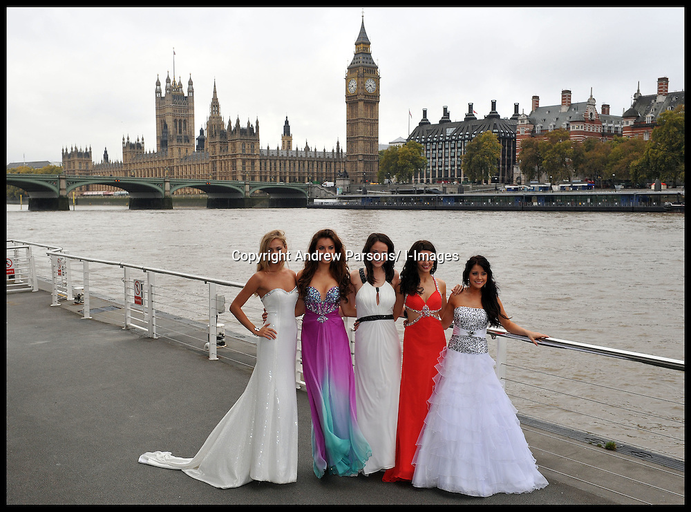 Photocall at the London Eye for the 60th Birthday of the Miss World contest to be held on Sunday November 6th, 2011, at Earls Court, London, L To R Miss England Alize Lily Mounter, Miss scotlnad Jennifer Reoch, Miss Wales Sara Manchipp, Miss Northern Ireland Finola Guinnane, Miss Ireland Holly Carpenter,  Monday October 31, 2011. Photo By Andrew Parsons/ i-Images