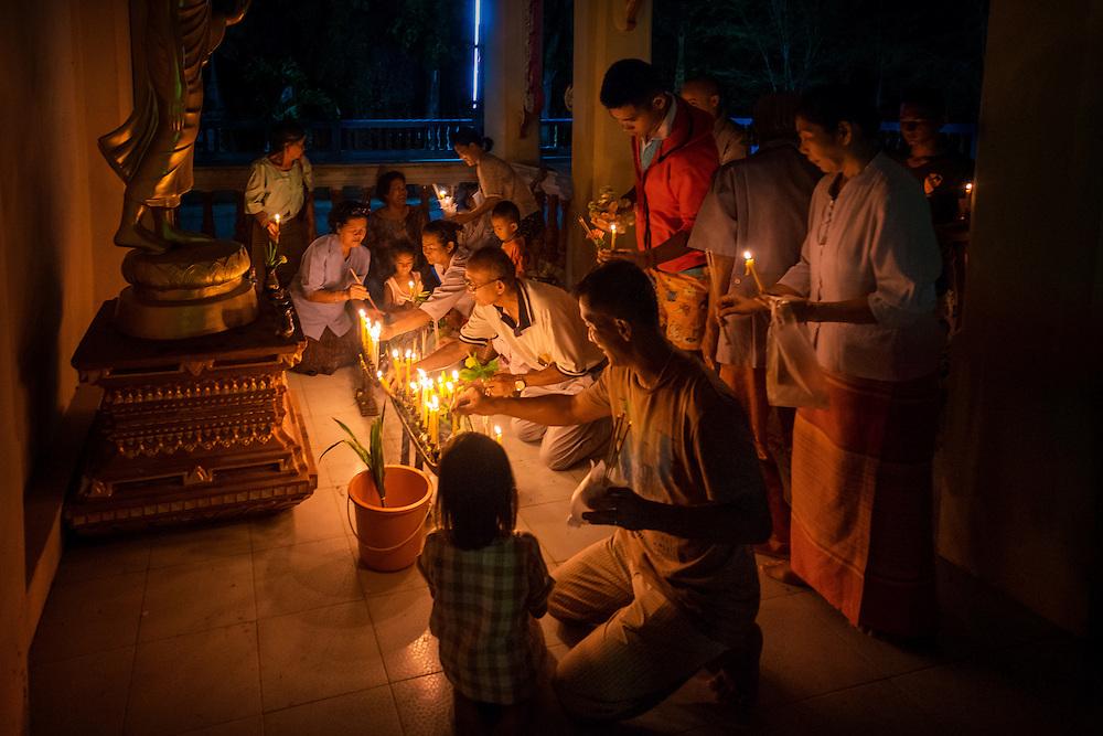 Devotees celebrate Visakha Bucha Day in Nakhon Nayok, Thailand May 20, 2016. PHOTO BY LEE CRAKER