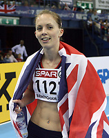 Photo: Rich Eaton.<br /> <br /> EAA European Athletics Indoor Championships, Birmingham 2007. 03/03/2007. Nicola Sanders wins gold in the womens 400m final