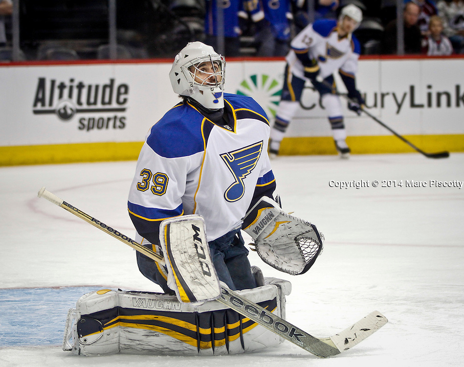 SHOT 3/8/14 1:41:10 PM - St. Louis Blues goaltender Ryan Miller #39 during pre-game warmups prior to their regular season Western Conference game against the Colorado Avalanche at the Pepsi Center in Denver, Co. The Blues won the game 2-1.<br /> (Photo by Marc Piscotty / &copy; 2014)