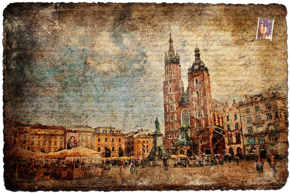 Krakow, Poland - Forgotten Postcard digital art European Travel collage