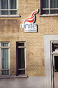 Unite Trades Union logo on building, Ipswich, England