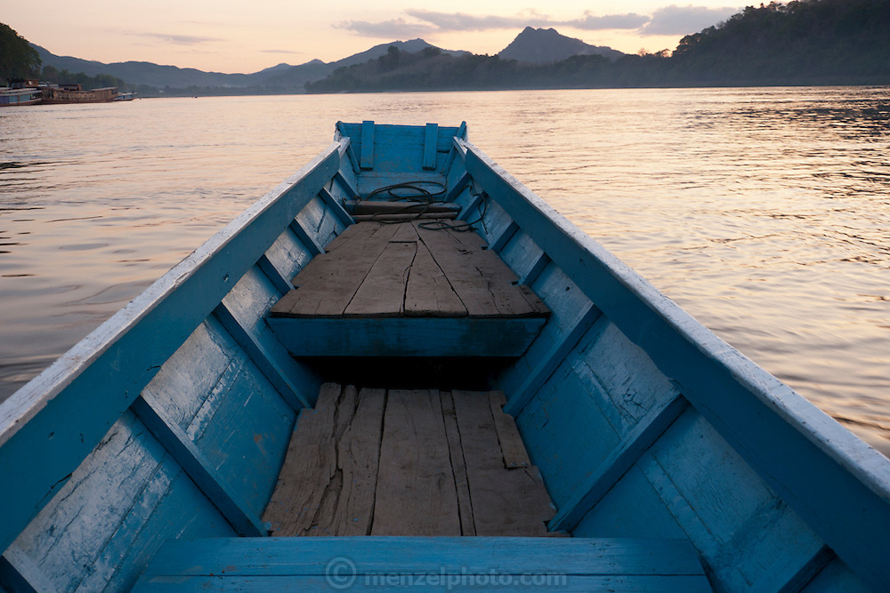 Luang Prabang, Laos. Boat on the Mekong River.