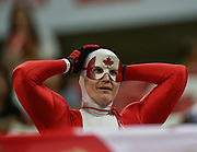 A Canadian fan celebrates after the HSBC World Rugby Sevens Series, Singapore, Cup Final match USA -V- Canada  at The National Stadium, Singapore on Sunday, April 16, 2017. (Steve Flynn/Image of Sport)