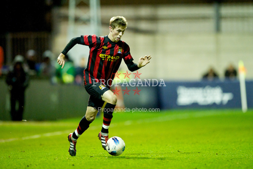 MANCHESTER, ENGLAND - Thursday, November 24, 2011: Manchester City's Adam Drury in action against Olympique de Marseille during the NextGen Series Group 1 match at Ewen Fields. (Pic by David Rawcliffe/Propaganda)