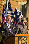 Goshen, New York - Rep. Sean Maloney speaks during the Orange County Law Enforcement Officer Memorial Service on May 8, 2015, at the entrance of the Orange County Courthouse. The memorial service honors the memory of the members of the Orange County law enforcement community that died in the line of duty. The service also pays tribute the families and loved ones left behind for their courage, dignity and perseverance.