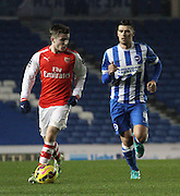 Daniel Crowley and Danny Holla during the Barclays U21 Premier League match between Brighton U21 and Arsenal U21 at the American Express Community Stadium, Brighton and Hove, England on 1 December 2014.