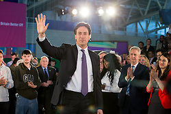 © Licensed to London News Pictures . 12/05/2014 . Manchester , UK . The leader of the Labour Party , ED MILIBAND , arrives to deliver a speech on health at the National Squash Centre in Manchester today (Monday 12th May 2014) . Photo credit : Joel Goodman/LNP
